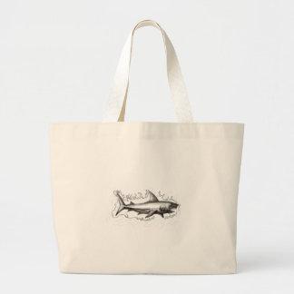 Shark Swimming Water Tattoo Large Tote Bag
