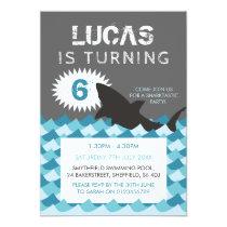 Shark themed birthday party invitation