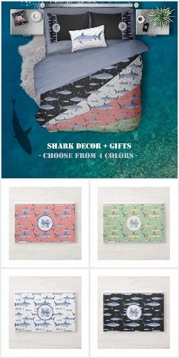 Shark Time | Watercolor Monogram + Jellyfish Decor