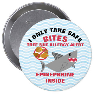 Shark Tree nut Allergy Alert Personalized Boys Pinback Button