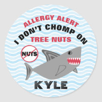 Shark Tree Nut Peanut Allergy Alert Customized Classic Round Sticker