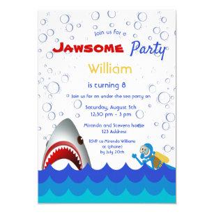 Shark Under The Sea 8th Birthday Party Boy Invitation