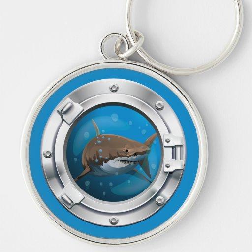 Shark Underwater Porthole Wiev Keychain