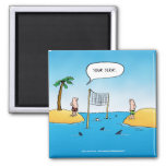 Shark Volleyball Funny Cartoon 2 Inch Square Magnet