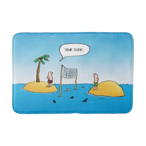 Shark Volleyball Funny Cartoon Bathroom Mat