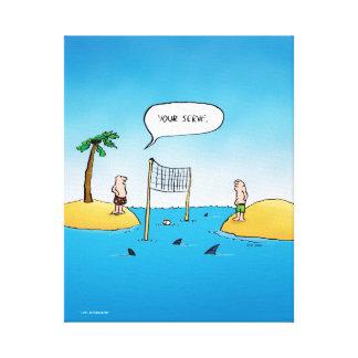 Shark Volleyball Funny Cartoon Canvas Print