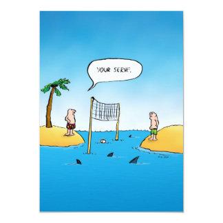 Shark Volleyball Funny Cartoon Card