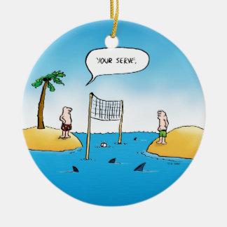 Shark Volleyball Funny Cartoon Ceramic Ornament
