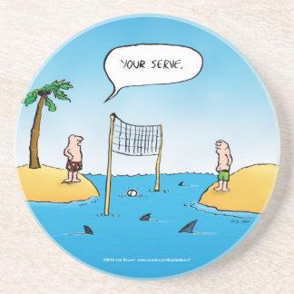 Shark Volleyball Funny Cartoon Coaster
