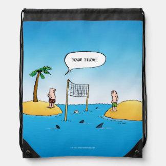 Shark Volleyball Funny Cartoon Drawstring Bag