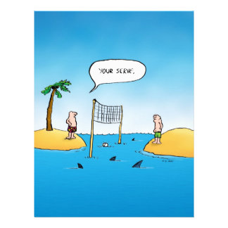 Shark Volleyball Funny Cartoon Flyer