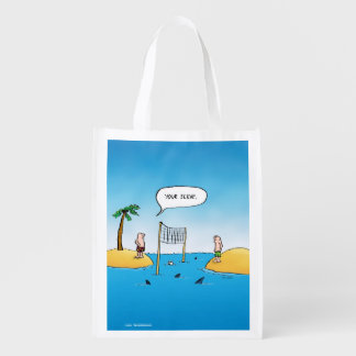 Shark Volleyball Funny Cartoon Grocery Bags