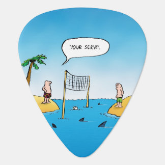 Shark Volleyball Funny Cartoon Guitar Pick