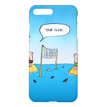 Beach Themed Shark Volleyball Funny Cartoon iPhone 7 Plus Case