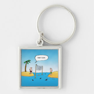 Shark Volleyball Funny Cartoon Silver-Colored Square Keychain