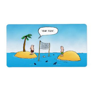 Shark Volleyball Funny Cartoon Label