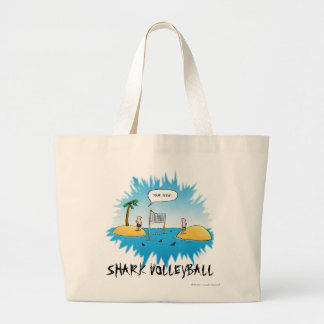 Shark Volleyball Funny Cartoon Large Tote Bag