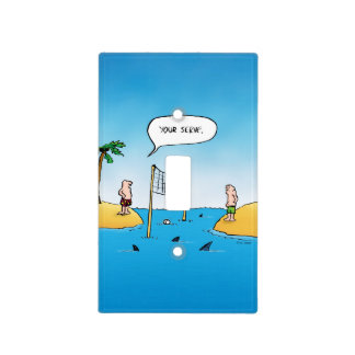 Shark Volleyball Funny Cartoon Light Switch Covers