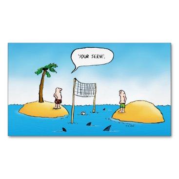 Beach Themed Shark Volleyball Funny Cartoon Magnetic Business Card