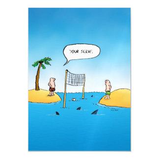 Shark Volleyball Funny Cartoon Magnetic Card