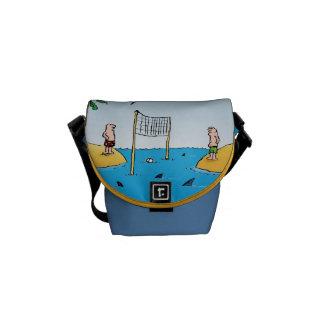 Shark Volleyball Funny Cartoon Messenger Bag