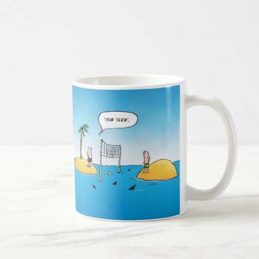 Shark Volleyball Funny Cartoon Coffee Mug
