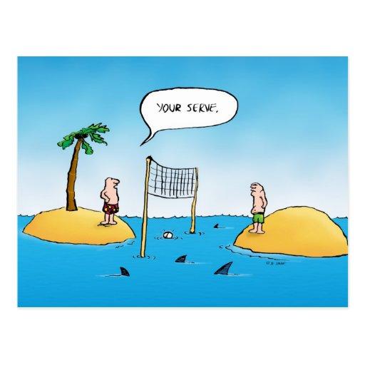Shark Volleyball Funny Cartoon Postcard