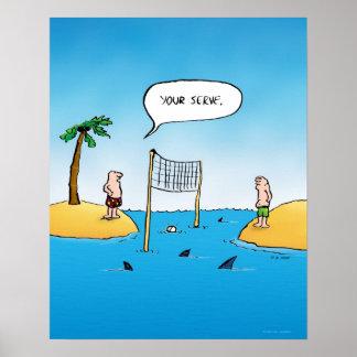 Shark Volleyball Funny Cartoon Poster