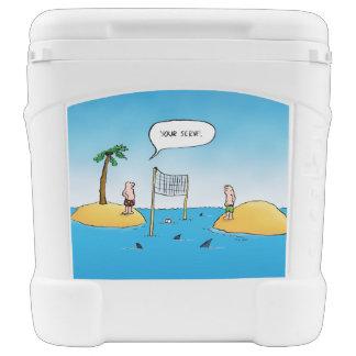 Shark Volleyball Funny Cartoon Roller Cooler Igloo Rolling Cooler