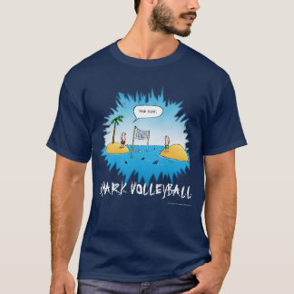 Shark Volleyball Funny Cartoon T-Shirt