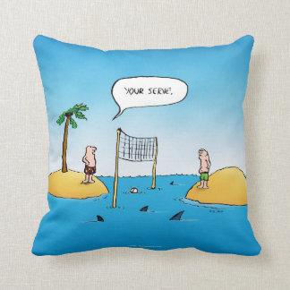Shark Volleyball Funny Cartoon Throw Pillow