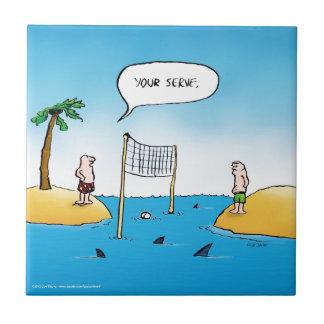 Shark Volleyball Funny Cartoon Tile
