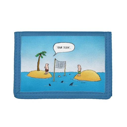 Shark Volleyball Funny Cartoon Wallet