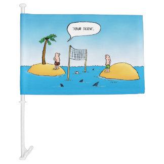 Shark Volleyball Funny Cartoon Car Flag