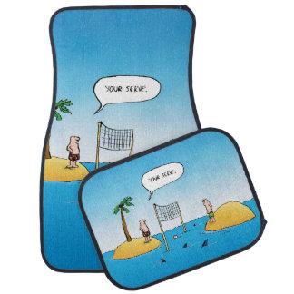 Shark Volleyball Funny Cartoon Floor Mat