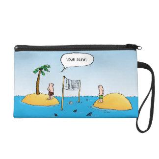 Shark Volleyball Funny Wristlet Bag