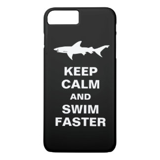 Shark Warning - Keep Calm and Swim Faster iPhone 8 Plus/7 Plus Case