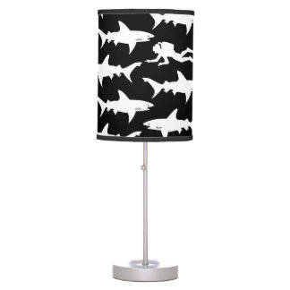 Shark Warning: Scuba Diver and School of Sharks Desk Lamp
