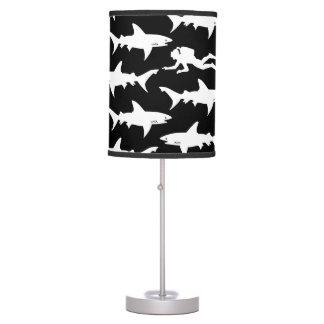 Shark Warning: Scuba Diver and School of Sharks Desk Lamp
