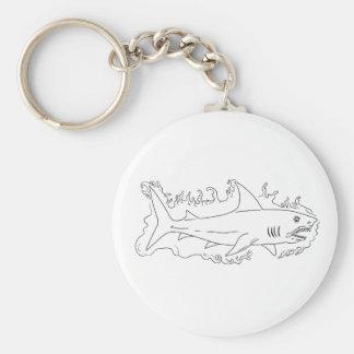 Shark Water Side Drawing Keychain