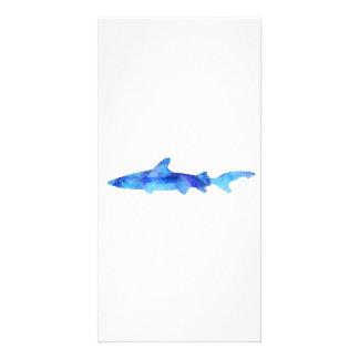 Shark Watercolor Silhouette Dye Teal Blue Aqua Card