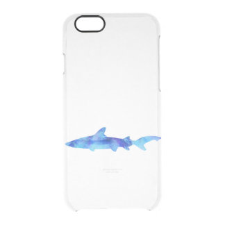 Shark Watercolor Silhouette Dye Teal Blue Aqua Uncommon Clearly™ Deflector iPhone 6 Case