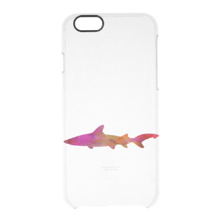 Shark Watercolor Silhouette Pink Tie Dye Pink Clear iPhone 6/6S Case