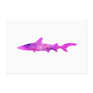 Shark Watercolor Silhouette Purple Pink Blue Canvas Print