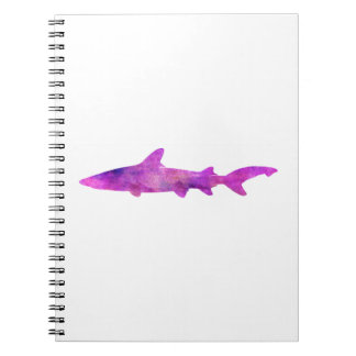 Shark Watercolor Silhouette Purple Pink Blue Spiral Note Books