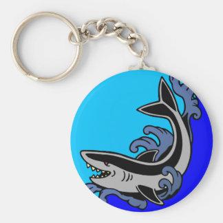 Shark Waves Basic Round Button Keychain