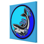 Shark Waves Stretched Canvas Print