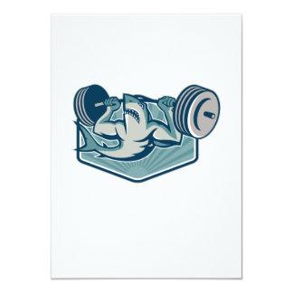 Shark Weightlifter Lifting Barbell Mascot 4.5x6.25 Paper Invitation Card