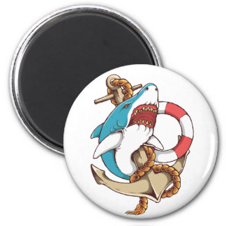 Shark With Anchor Tattoo Style Art 2 Inch Round Magnet