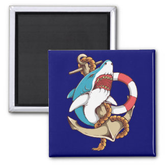 Shark With Anchor Tattoo Style Art 2 Inch Square Magnet